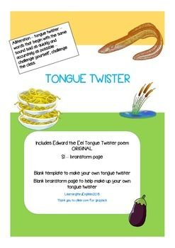 A fun ORIGINAL funny tongue twister about Edward the Eel who likes to eat egg foo yung See how fast you can say this tongue twister Have a class competitionIncludes Tongue Twister blank template to make up your ownSl - brainstorming sheetBlank brainstorming sheet to support the creation of an alliteration tongue twister LearningthruEnglish