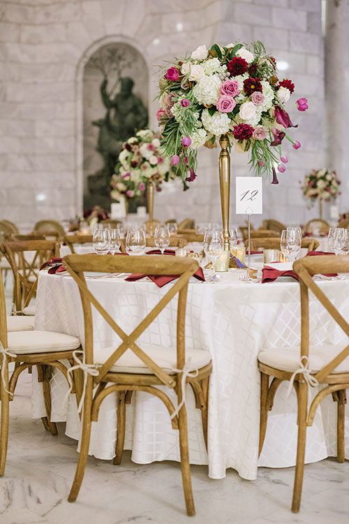 Fall Wedding in the Utah State Capitol Building, Reception Decor | Brides.com