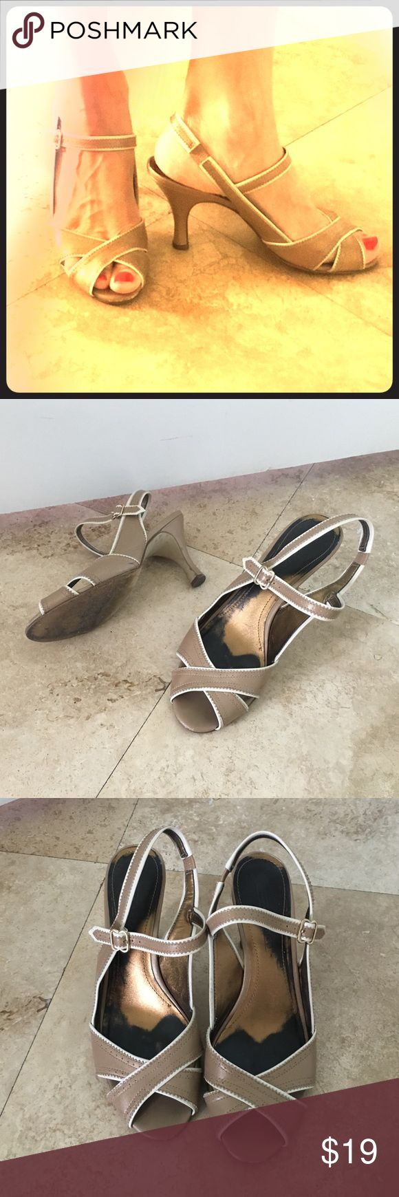 Joan & David Nude Mary Jane Sandals Heels Circa Joan & David Nude Mary Jane Sandals Heels. Very unique, feminine and stylish shoe. Some wear on heels, and insole, but not detectable while wearing. Joan & David Shoes Heels