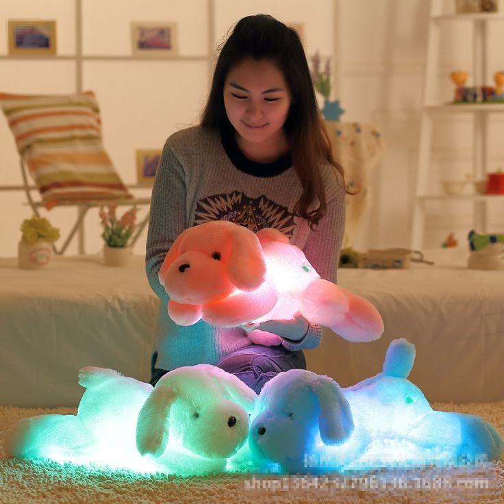 "Kawaii חמוד צעצועי קטיפה כלב עם Led אור זוהר 50 ס""מ טדי כלב ממולא בובת צעצועי ילדי ילדי לילה אור צעצועי"
