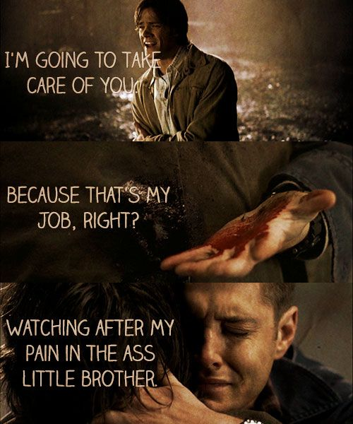 Sam and Dean Winchester all hell breaks lose part 1 sam: dean Dean: sammy look out Sam : urgh dean: sammy nooooooooooooo! dean: hey hey look we canfix you youll be as good as new look i mean its not even that bad its not even that bad look im gonna take care of you because thats my job right watching after my ...my pain in the ass little brother .... Sam? Sam!?!?!
