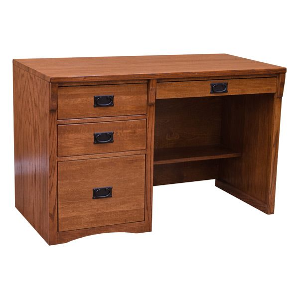 "The California Craftsman 48"" Mission Computer Desk offers plenty of storage and ample desktop space. The drawer of this furniture also flips down, easily converting it into a pullout to accommodate your keyboard. Proudly constructed in the U.S.A., this California Craftsman desk features thick 1-1/2"" solid oak tops, dovetail drawer construction, contains no particleboard and is made with 1/4 sawn red oak - all of which are characteristics of the entire line's quality and durability."