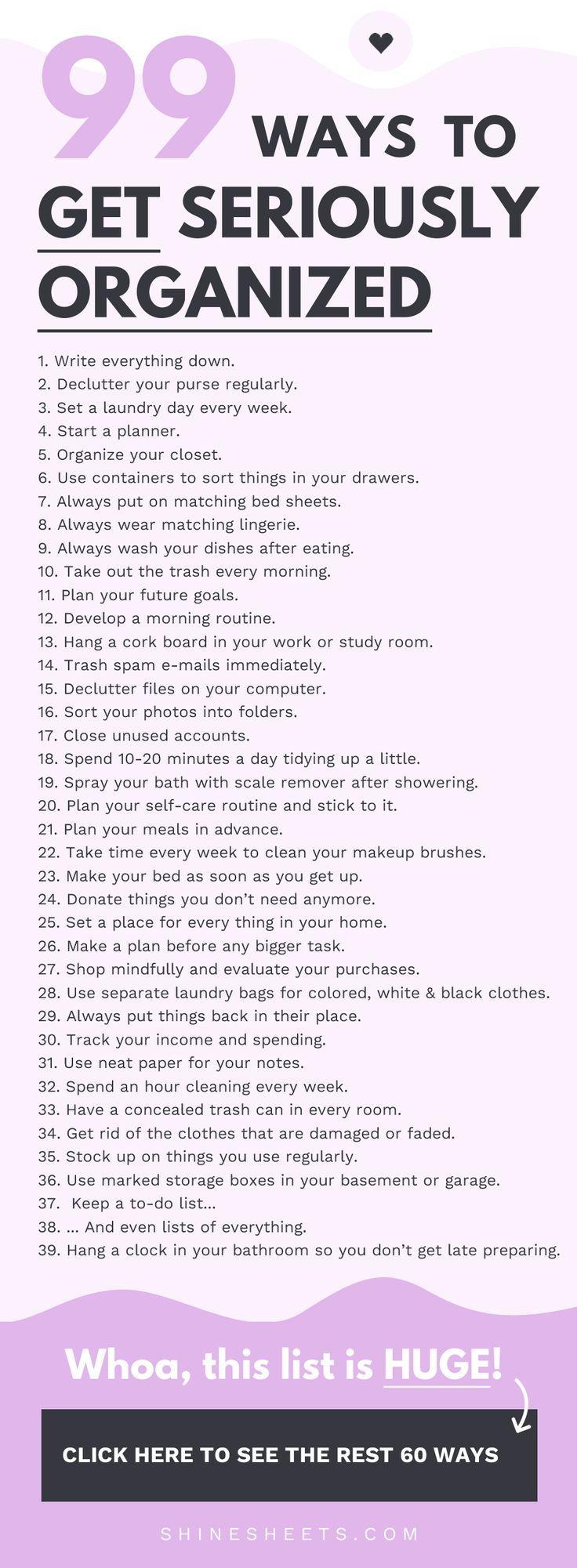 99 Wege, um ernsthaft organisiert zu werden Junge, liebe ich Listen von allem. Sie sind
