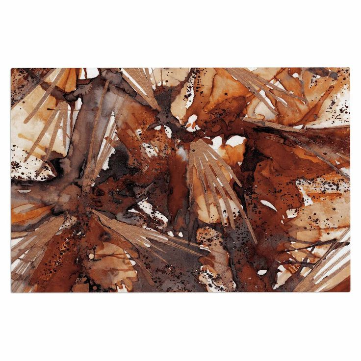 "Ebi Emporium ""Birds Of Prey - Rust Tan Brown"" Beige Watercolor Decorative Door Mat"