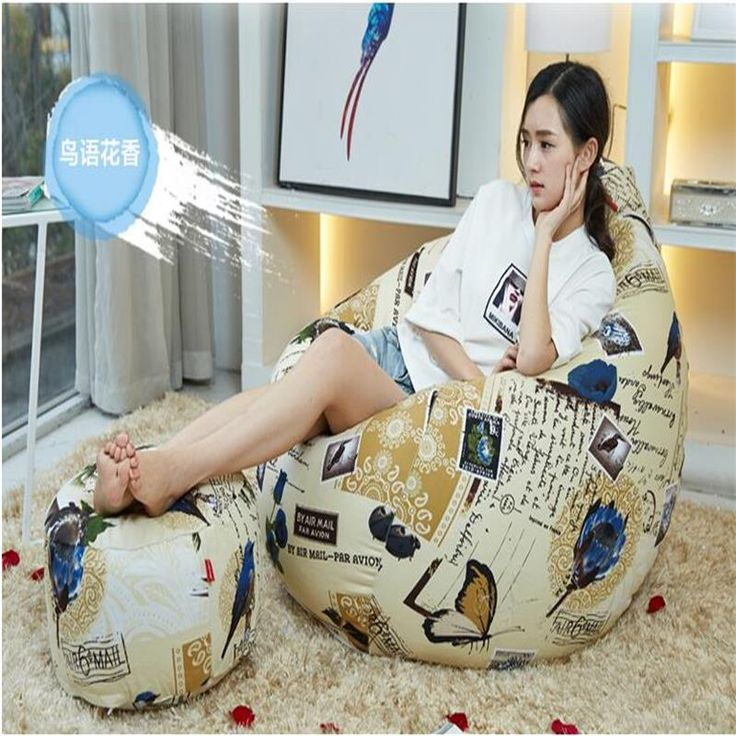 Ywxuege leisure tatami Lazy sofa  Wu language floral bean bag chair leisure with footstool large size( filler included