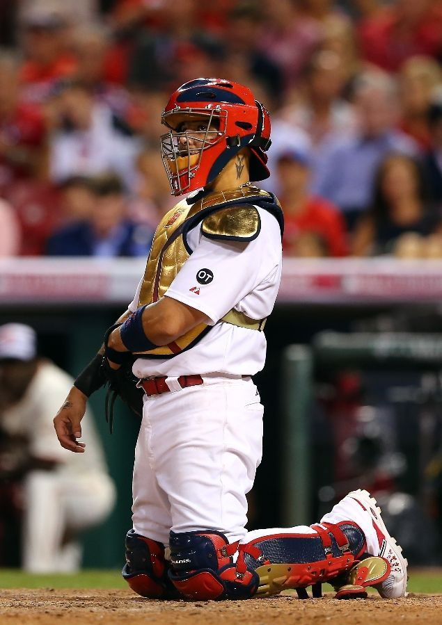 All Star Yadier Molina looks on in the eighth inning against the American League during the 86th All Star game. 7-14-15