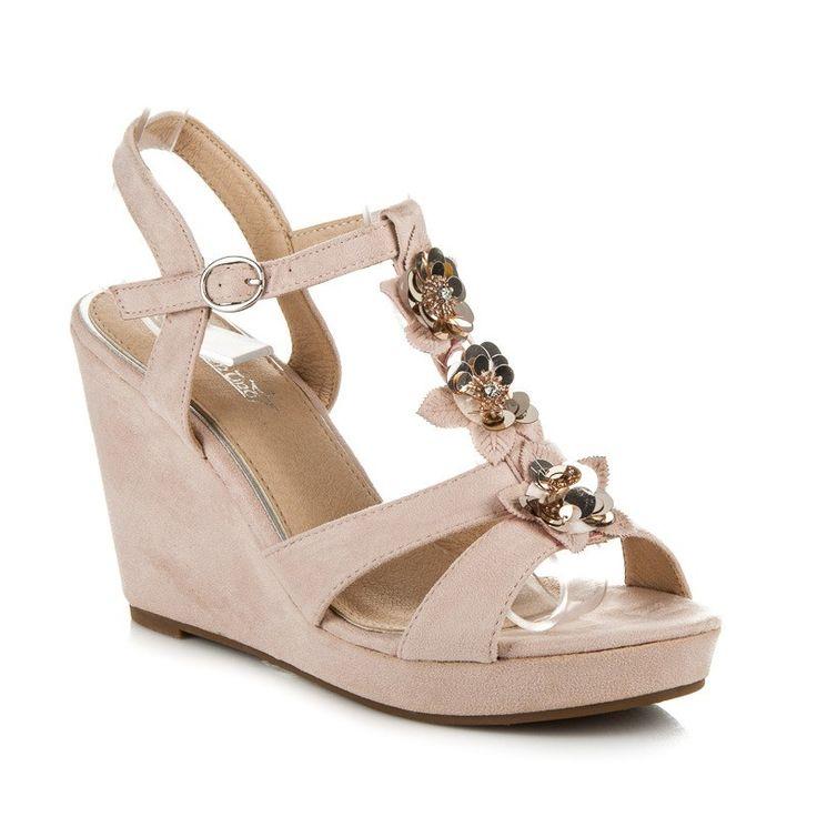 Klinové sandále s kvetmi B501P
