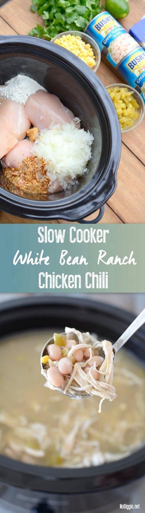 Slow Cooker White Bean Ranch Chicken Chili recipe | - so good and so easy http://NoBiggie.net