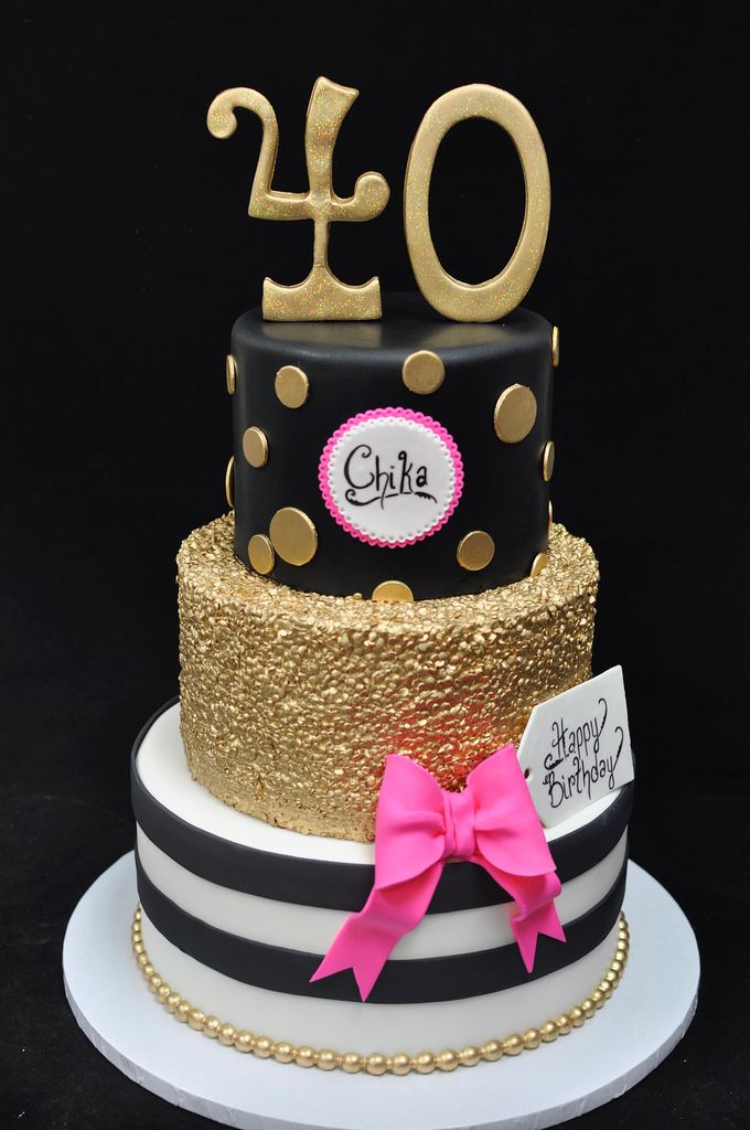 Image Result For Black And Gold 40th Birthday Cake Cake