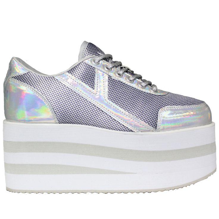 Karazii Mesh Platform Sneakers in Hologram Silver