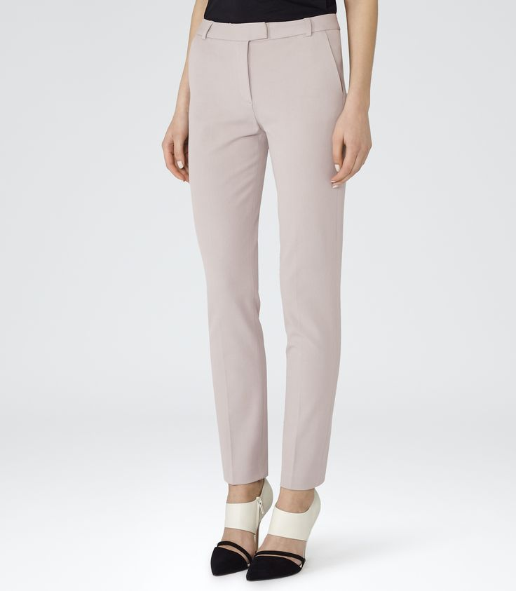 Womens Neutral Tailored Trousers - Reiss Crema