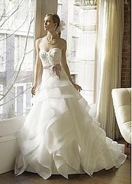 Glamorous Satin & Organza Satin Sweetheart Neckline Wedding Dress With Handmade Flower and Beads wedding dress www.finditforweddings.com