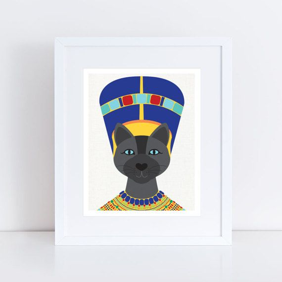 egyptian cat print queen Nefertiti  Neferkitty by creativemonsoons