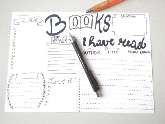 books journal printable planner to read books di LaSoffittaDiSte