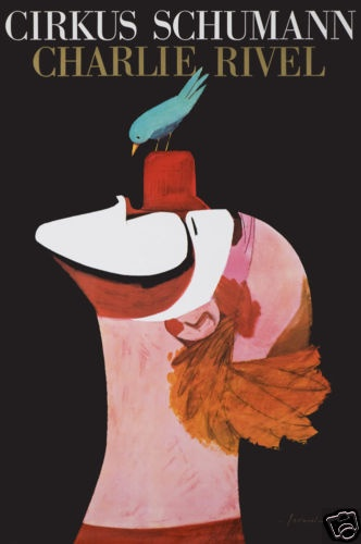 Original Vintage Poster Circus Cirkus Schumann Clown Danish IB Antoni 1960s Bird | eBay