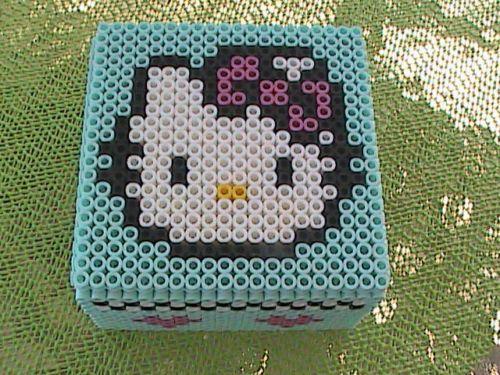 Hello Kitty Perler Bead Wooden Hinged Box by angelferret