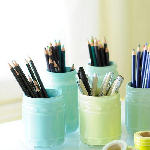 Pastel glass jars upcycle for organizaiton. More DIY ideas @BrightNest Blog: Glasses, Mason Jars, Diy, Painted Jars, Glass Jars, Craft Ideas, Crafts