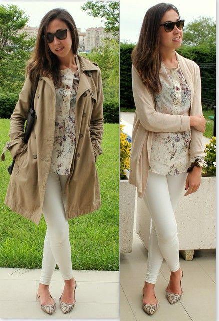 trench + blusa de flores + chaqueta beige + leggins blancos + bailarinas estampadas