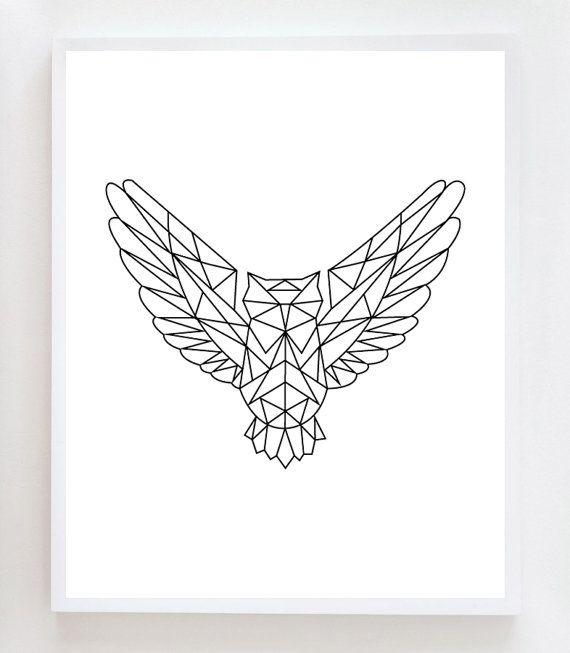 Articles similaires à Impression d'Art mur hibou géométrique sur Etsy