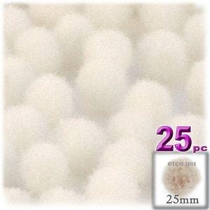 Acrylic Pom Poms, solid Color, 1.0-inch (25-mm), 25-pc, Cream