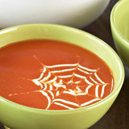 Kids will love a spooky spiderweb in their favorite soup! Learn how it was done here: http://www.bhg.com/halloween/recipes/quick-halloween-party-food/#page=5