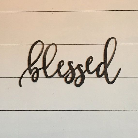 blessed metal word sign 18 x 8 gallery wall by TheWordsmithStudio