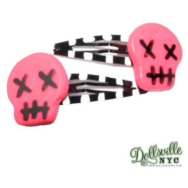 Skull Barrette Hair Clips-Hot Pink with Black & White Stripes Goth,... ($8) ❤ liked on Polyvore