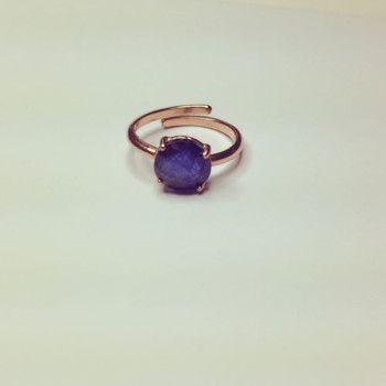 Anello in argento 925 placcato oro rosa. Pietra: giada blu