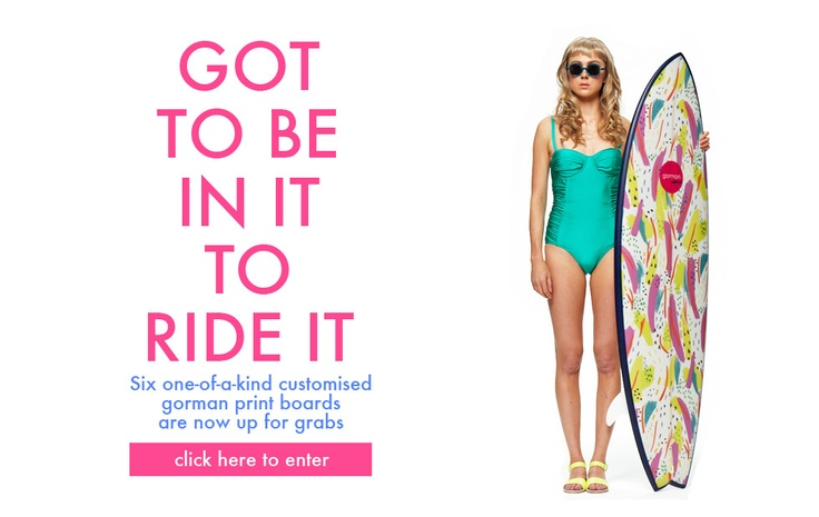 Gorman Online win a surfboard with one of my patterns on it!: Online Win, Gorman Online