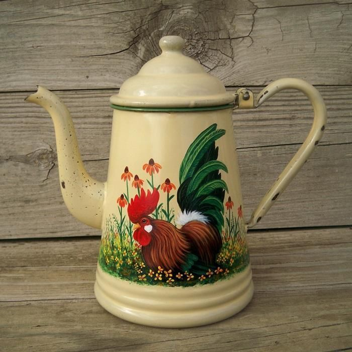 Cream Green Trim Enamel COFFEE TEA POT HP Rooster Art French Country T. McMurry
