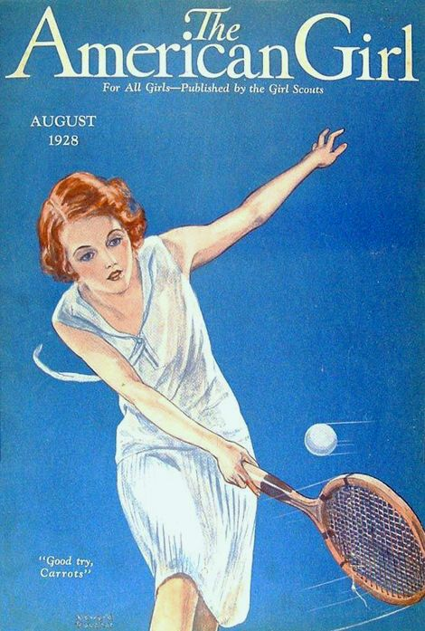 Poucher, Edward A - Woman Playing Tennnis- 'American Weekly', Aug. 1928