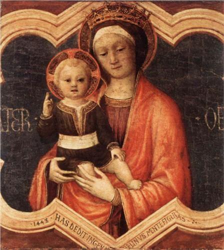 Jacopo Bellini | Madonna and Child, 1448, tempera on canvas, 50×45cm. Pinacoteca di Brera, Milano