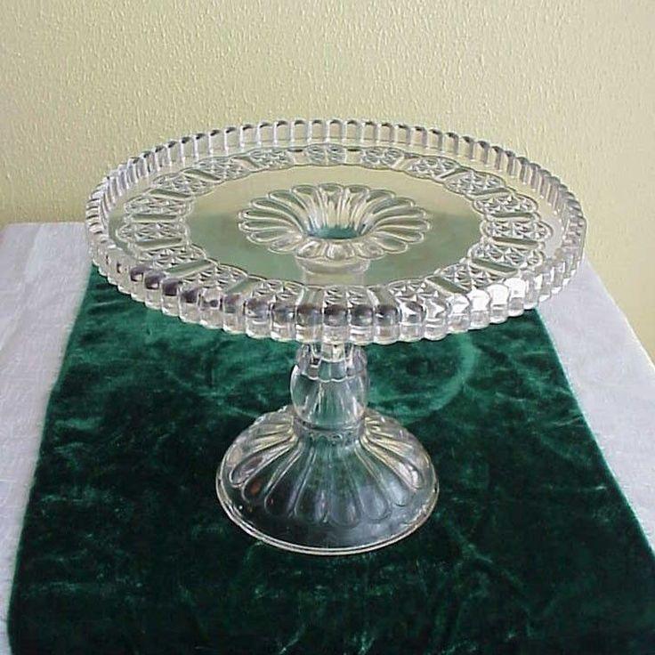 GREAT 1874 EAPG Cottage Dinner Bell 8.5  Glass Pedestal Cake Stand & 792 best Cake Stand Fever images on Pinterest | Cake plates Cake ...