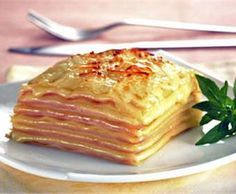 Receta de Lasaña de jamón y queso simple para los ninos