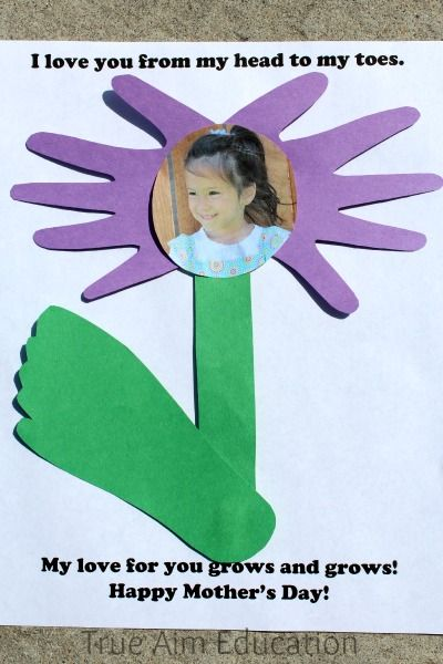 Mother's Day Craft: Flower Hand and Foot Print Card - Free Printable Poem