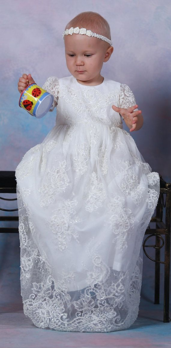 CECILY Christening Gown ,  Lace Baptism Gown, lace with beads, Baptism dress, Christening set