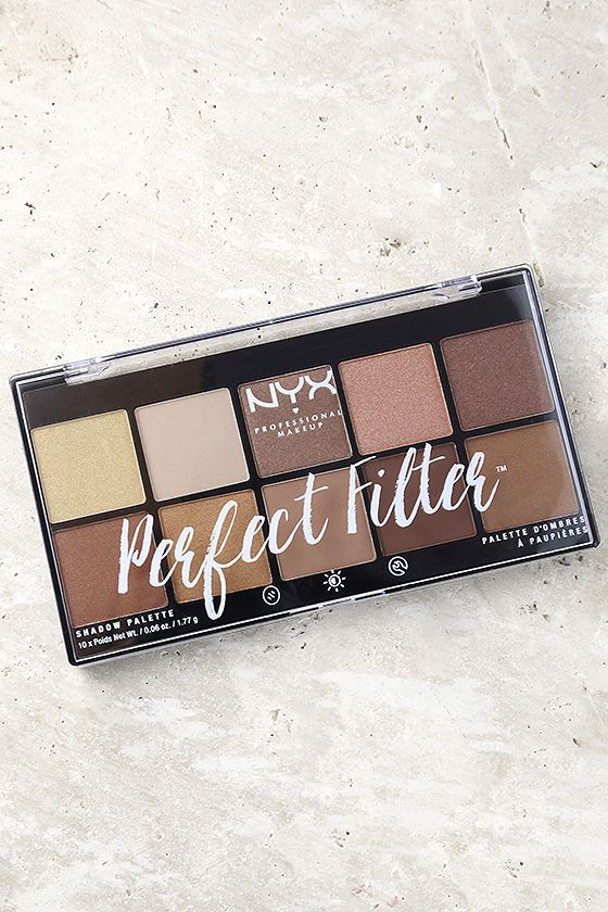 Create a look inspired by your favorite filter with the NYX Golden Hour Perfect Filter Eyeshadow Palette! A set of ten shimmering neutral shades. Ingredients: Talc, Magnesium Stearate, Dimethicone, Hydrogenated Polyisobutene, Octyldodecyl Stearoyl Stearate, Tin Oxide, Bis-Diglyceryl Polyacyladipate-2, Water, Calcium Sodium Borosilicate, Triethoxycaprylylsilane, Silica, Alumina, Ethylhexylglycerin, Tocopherol, Phenoxyethanol, Mica, Titanium Dioxide, Iron Oxides, Colorants.