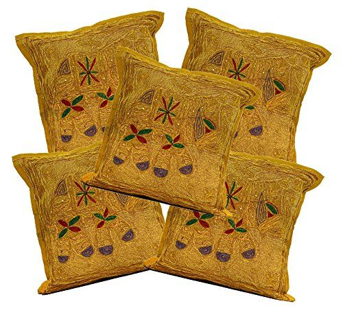 5 Brown Indian Sequin Embroidery Ethnic Elephant Design Throws Pillow Cushion Covers Krishna Mart India http://www.amazon.com/dp/B011RHFLYE/ref=cm_sw_r_pi_dp_FCaywb18AFWT3