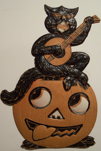 vintage german halloween diecut cat on jack o lantern with banjo by riptheskull - Antique Halloween Decorations