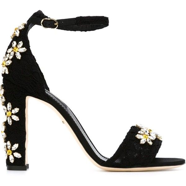 Dolce & Gabbana daisy embellished sandals (111.960 RUB) ❤ liked on Polyvore featuring shoes, sandals, heels, footwear, black, heeled sandals, chunky sandals, floral sandals, leather sandals and black chunky sandals