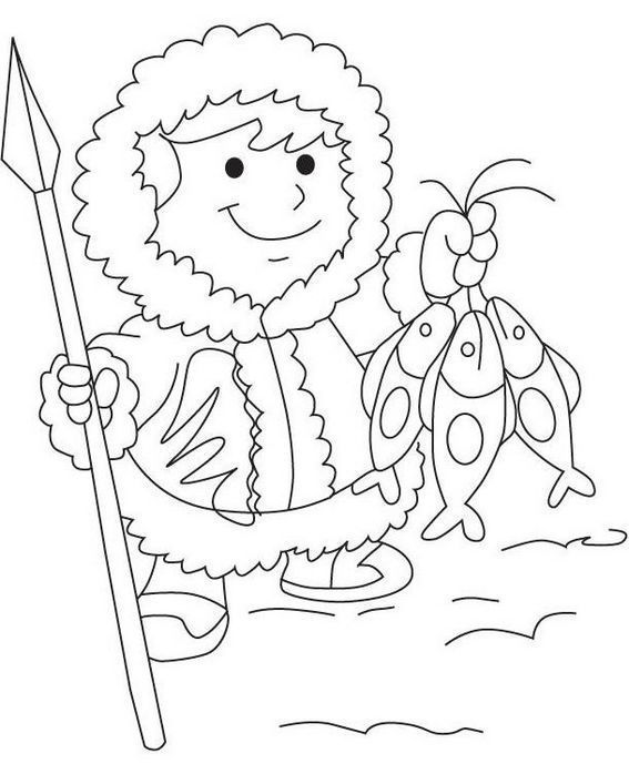 Eskimo Getting Fish Coloring Sheet Also See The Category To