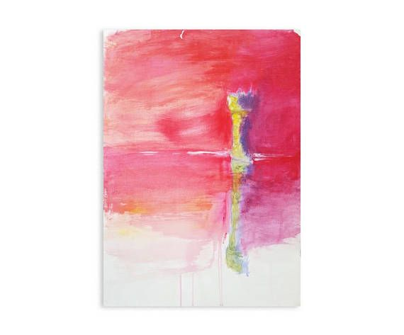 Romantic art   Original artwork on paper, 50 x 70cm. Acrylic paint, nature, interior art, decoration, girl room, child room, pink, purple and yellow