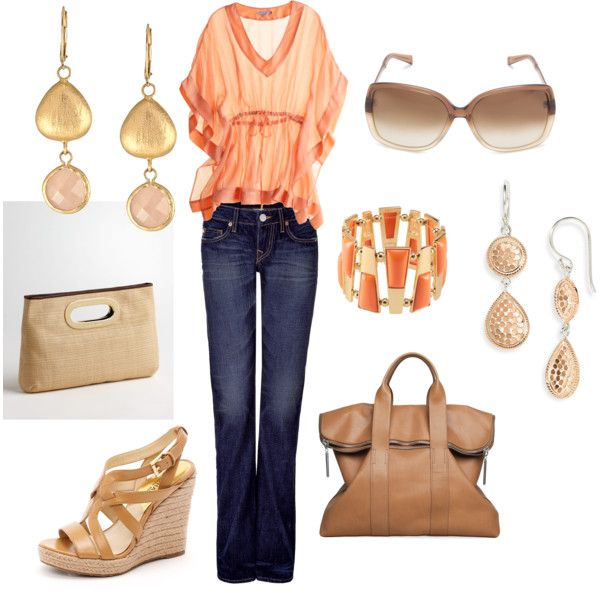 Just peachy, created by shanna-taylor-alonge: Summer Tans, Nice Style, Fashion, Outfits Sets, Peaches Colors, Clothing, Closet, Night Outfits, Nice Outfits