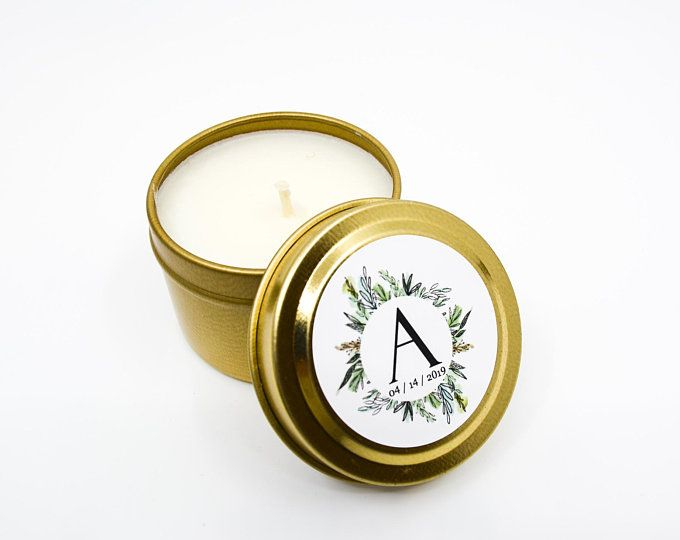 Bulk Candle Wedding Favors Travel Size Soy Candle Favors Personalized Gold Tin Candle Favors Personalized Label Candles
