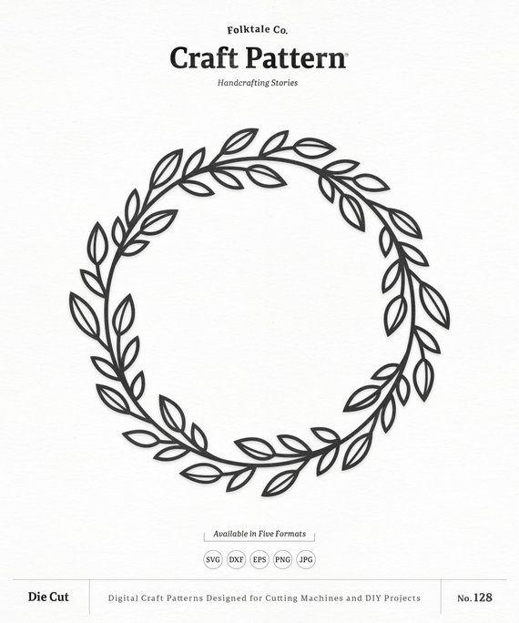 Wreath SVG Craft Pattern, Leaf Wreath SVG, Monogram Frame ...