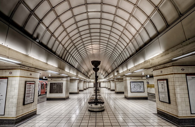 Gants Hill station on the Central line. The design of this station was inspired by the Soviet-era architecture of stations on the Moscow Metro.