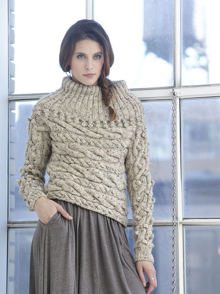 Sideways Cable Pullover By Vladimir Teriokhin - Free Knitted Pattern - (joann...