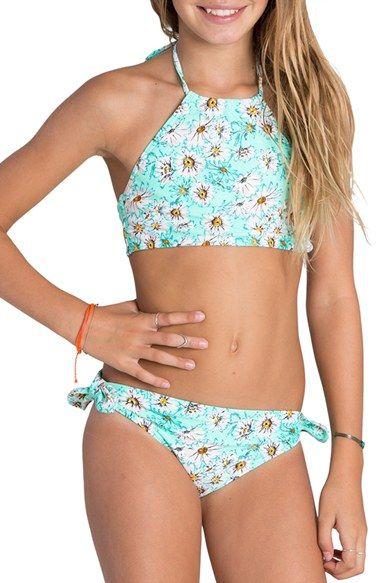 Billabong 'Fancy Floral' High Neck Two-Piece Swimsuit (Little Girls & Big Girls)