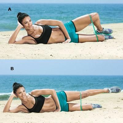 Sidelying clams and straight leg raises target the abductors, muscles which are often neglected by sagittal plane exercises such as squats and forward lunges. via Shape Magazine