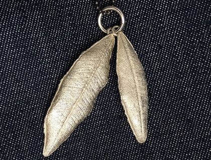 Artisan Necklace with Two Fine Silver Pohutukawa Leaves